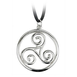Rhodium Plated Triple Spiral Round Celtic Pendant Emerald Isle Jewelry.