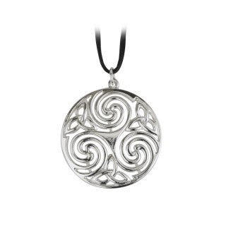 Rhodium Plated Round Celtic Pendant Emerald Isle Jewelry.