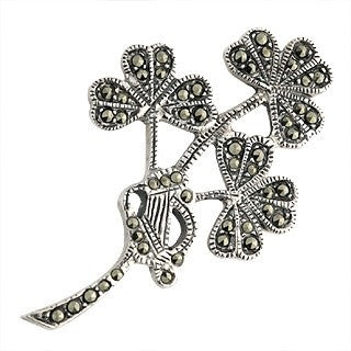 Sterling Silver and Marcasite Shamrock Brooch Emerald Isle Jewelry.
