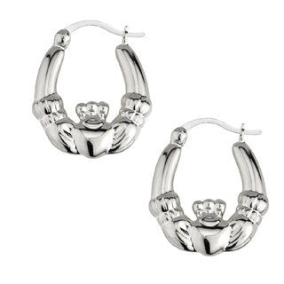 Sterling Silver Claddagh Hoop Earrings - Small Emerald Isle Jewelry.