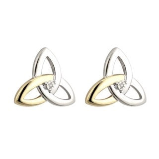 Silver & Gold Dia Trinity Stud Earrings Emerald Isle Jewelry.