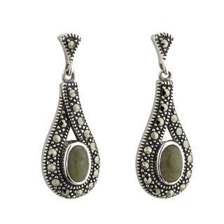 Sterling Silver Marcasite and Marble Drop Earrings Emerald Isle Jewelry.