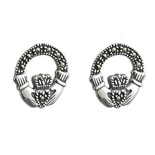 Sterling Silver Marcasite Claddagh Stud Earrings Emerald Isle Jewelry.