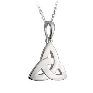 Silver Trinity Knot Small Pendant with Chain Emerald Isle Jewelry.