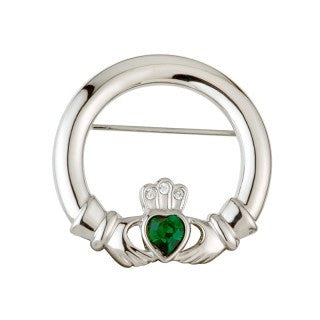 Rhodium Plated Claddagh Brooch Emerald Isle Jewelry.