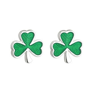 Shamrock Earrings Silver Plated Emerald Isle Jewelry.