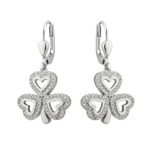 Silver Shamrock Drop Earrings