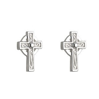 Sterling Silver Celtic Cross Stud Earrings Small Emerald Isle Jewelry.