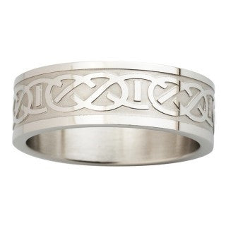 Steel Engraved Celtic Knot Ring Emerald Isle Jewelry.