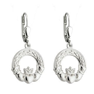 Claddagh Earrings Sterling Silver Drop Style Emerald Isle Jewelry.