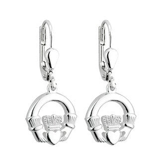 Sterling Silver Drop Style Claddagh Earrings