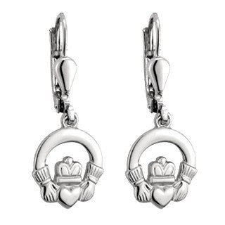 Sterling Silver Drop Earrings - Claddagh
