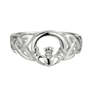 Sterling Silver Celtic Claddagh Front Ring Emerald Isle Jewelry.