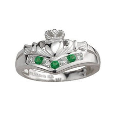 Sterling Silver Wishbone Emerald and CZ Claddagh Ring Emerald Isle Jewelry.