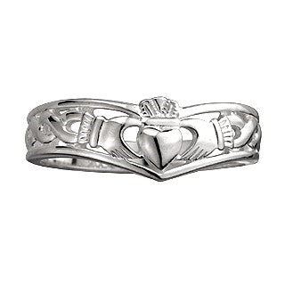 Sterling Silver Claddagh Wishbone Ring Emerald Isle Jewelry.