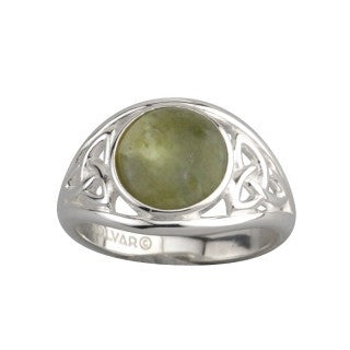 Sterling Silver Connemara Marble Trinity Knot Ring Emerald Isle Jewelry.
