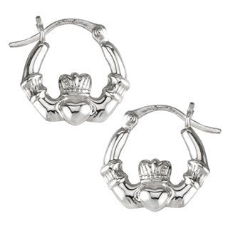 Sterling Silver Claddagh Creole Small Earrings