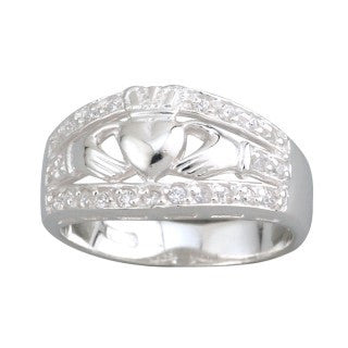Sterling Silver Cubic Zirconia Wide Claddagh Band Ring Emerald Isle Jewelry.