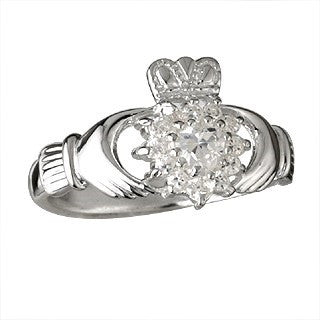 Sterling Silver Cubic Zirconia Cluster Claddagh Ring