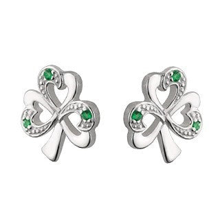 Sterling Silver Shamrock Stud Earrings Emerald Isle Jewelry.