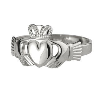 Sterling Silver Extra Heavy Mens Claddagh Ring Emerald Isle Jewelry.