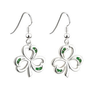 Sterling Silver Green Crystal Shamrock Earrings Emerald Isle Jewelry.