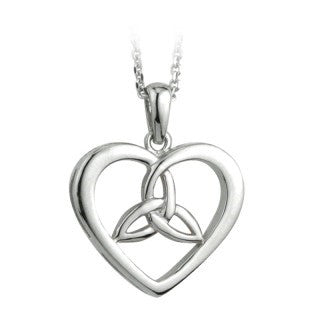 Sterling Silver Heart & Trinity Pendant