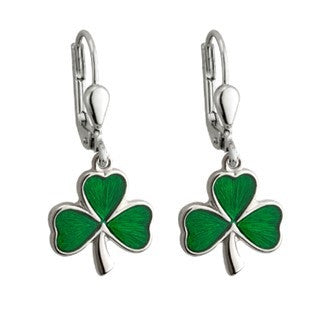 Sterling Silver Shamrock Drop Earrings - Large Emerald Isle Jewelry.