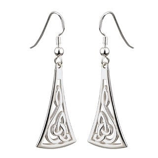 Sterling Silver Celtic Drop Style Long Earrings