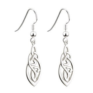 Sterling Silver Long Celtic Trinity Earrings