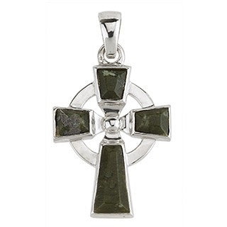 Celtic Cross Sterling Silver and Connemara Pendant with Chain Emerald Isle Jewelry.