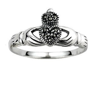 Sterling Silver Marcasite Claddagh Ring