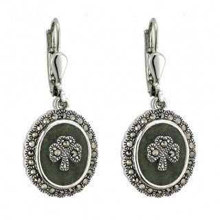 Sterling Silver Marble and Marcasite Shamrock Drop Earrings Emerald Isle Jewelry.