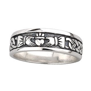 Mens Sterling Silver Oxidised Claddagh Band Emerald Isle Jewelry.