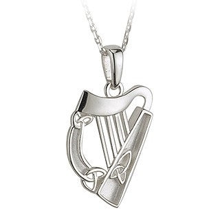 Sterling Silver Harp Pendant with Chain Emerald Isle Jewelry.