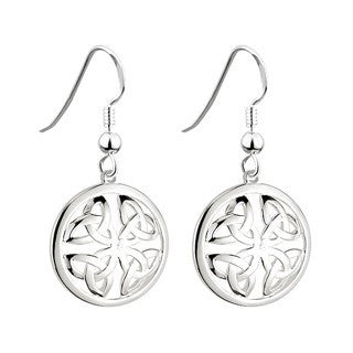 Sterling Silver Trinity Knot Earrings Round Emerald Isle Jewelry.