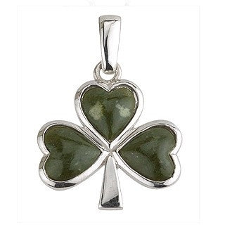 Sterling Silver Large Connemara Marble Shamrock Pendant with Chain