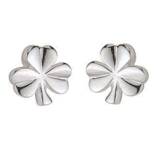 Sterling Silver Shiny Shamrock Stud Earrings Emerald Isle Jewelry.