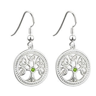 Tree of Life Sterling Silver Drop Earrings Emerald Isle Jewelry.