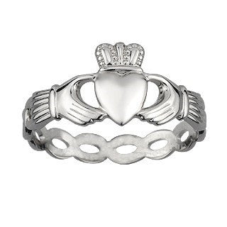 Sterling Silver Woven Claddagh Ring Emerald Isle Jewelry.