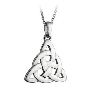 Sterling Silver Triangular Large Celtic Pendant with Chain Emerald Isle Jewelry.