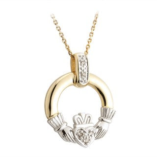 Diamond Two Tone 14K Gold Claddagh Pendant Emerald Isle Jewelry.