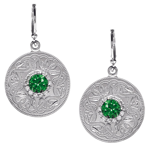 Warrior Style Sterling Silver and Emerald Earrings