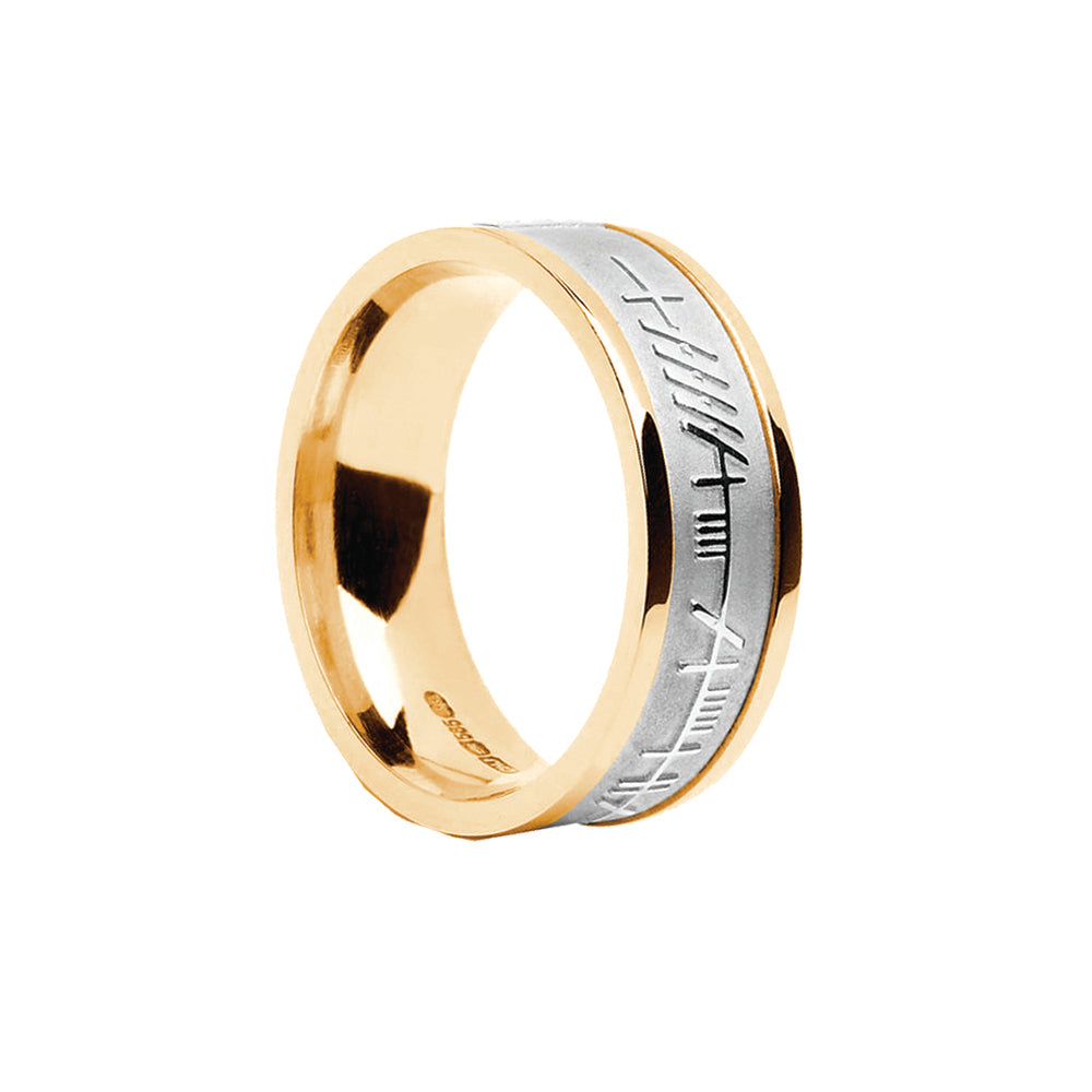 Ladies Gold Ogham Wedding Ring Emerald Isle Jewelry.