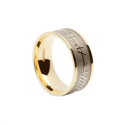 Mens Gold Ogham Wedding Ring