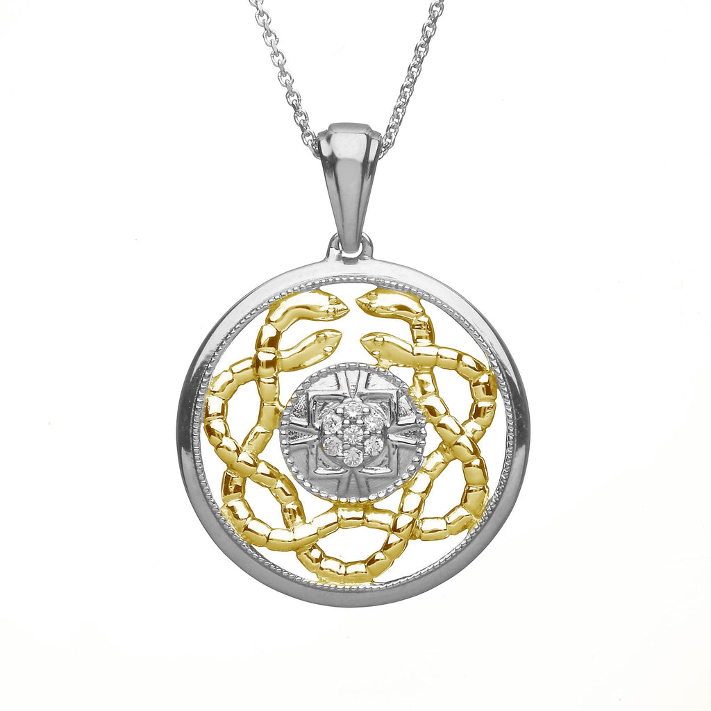 Celtic Knot Two Tone Gold, Silver & Diamond Pendant Emerald Isle Jewelry.
