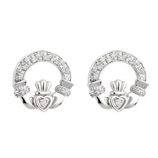 14 Karat White Gold and Diamond Claddagh Stud Earrings Emerald Isle Jewelry.