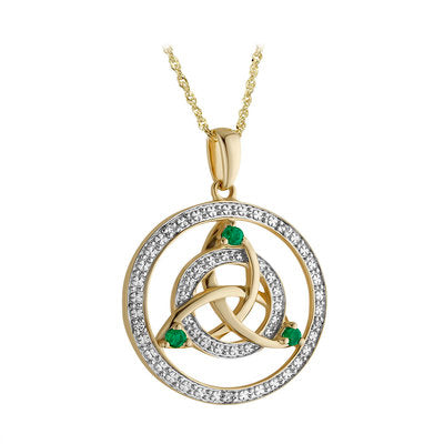 Diamond, Emerald and 14KT Gold Round Pendant