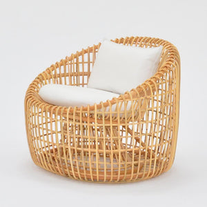 cane lounge chair with cushion
