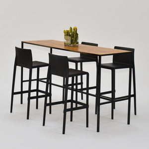 Coast Runner Table communal wood table with black barstools